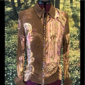 Luisa Cerano print blouse coloured rhinestones